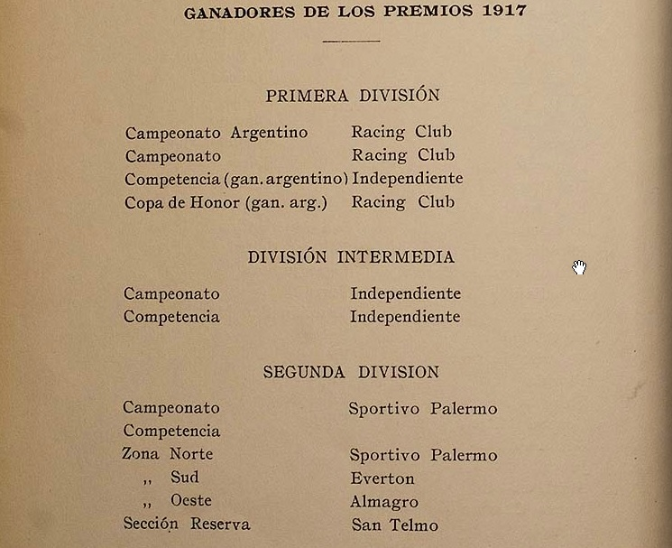1917 - ganadores de los premios - memoria y balance 1917 afa