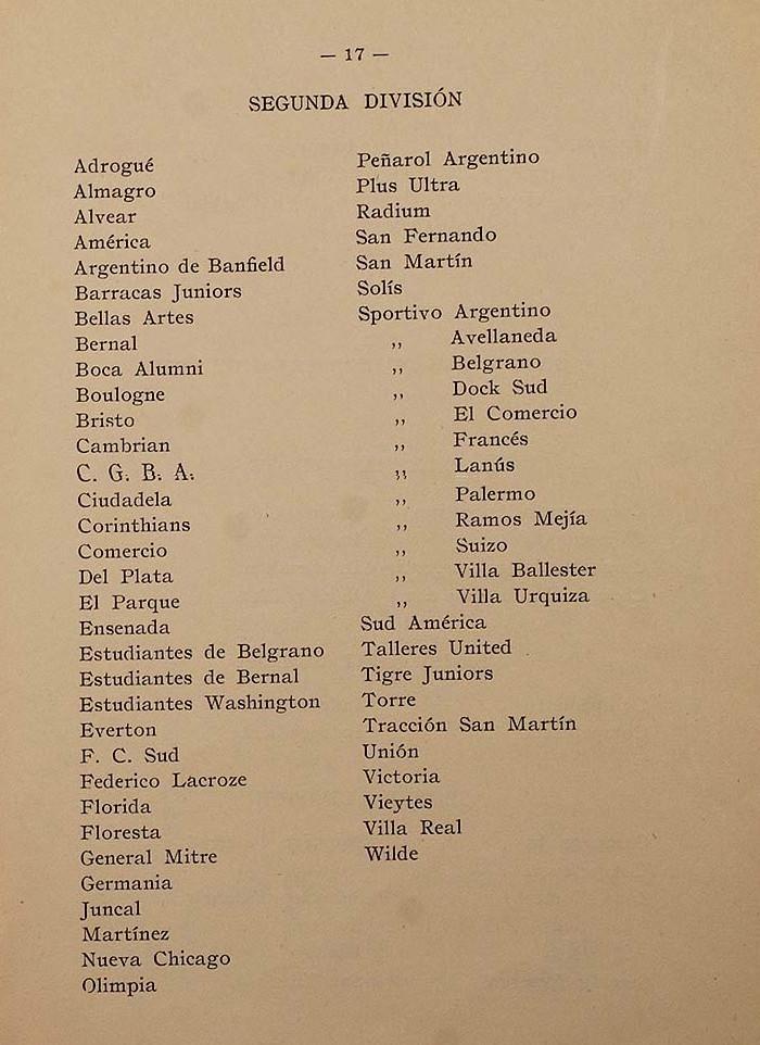 1917 - segunda division - equipos - memoria y balance 1917 afa