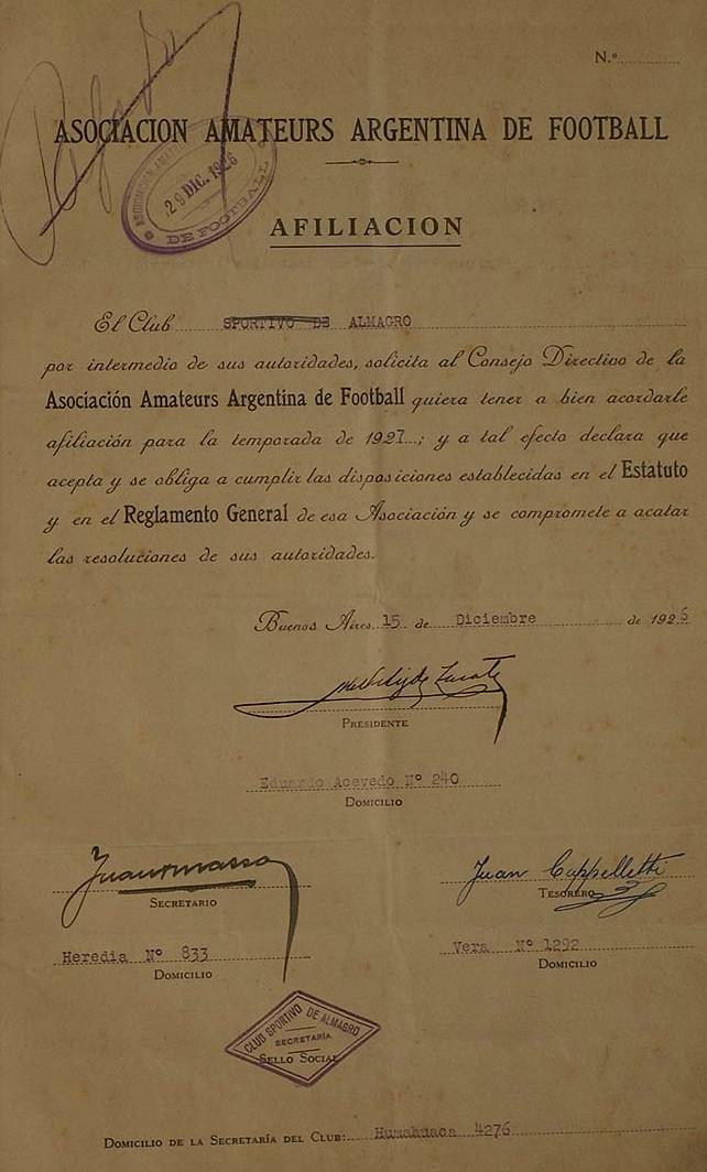 1927 - afiliacion