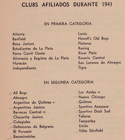 1941 - clubes afiliados