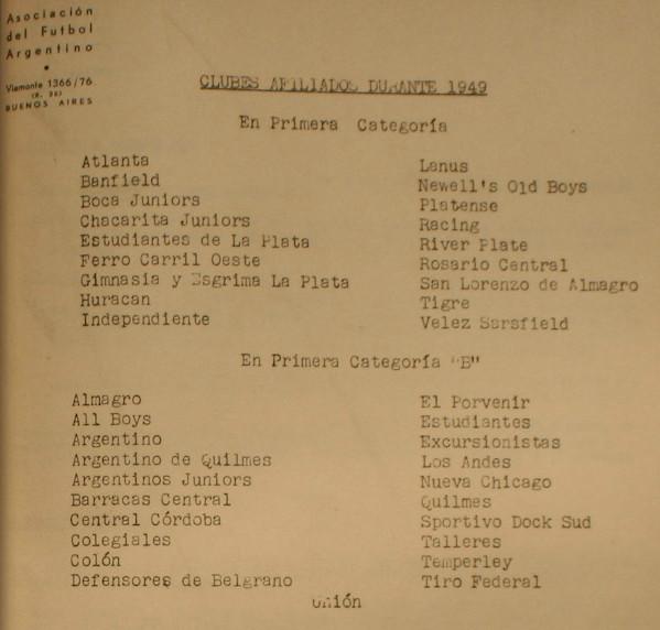 1949 - clubes afiliados
