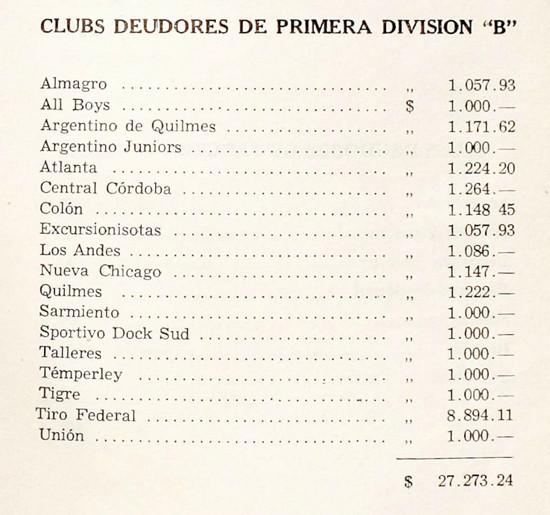 1953 - clubes deudores