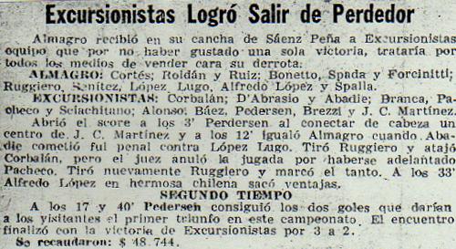 1960 primera b Almagro - excursionistas