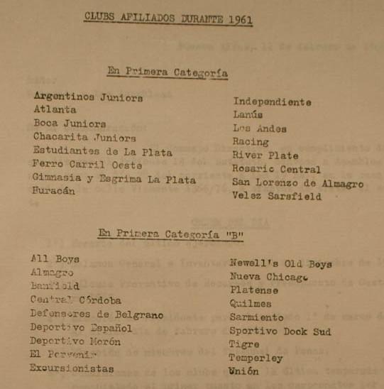 1961 - clubes afiliados