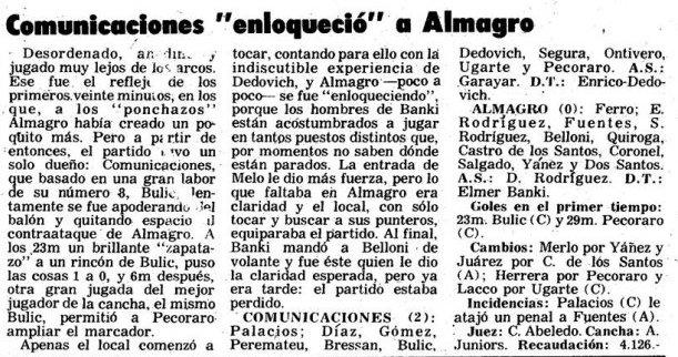 1974 primera b - comu almagro - diario noticias