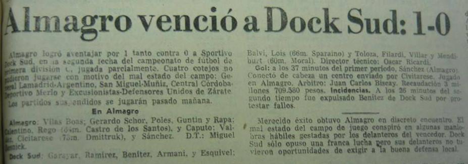 1982 - almagro - dock sud