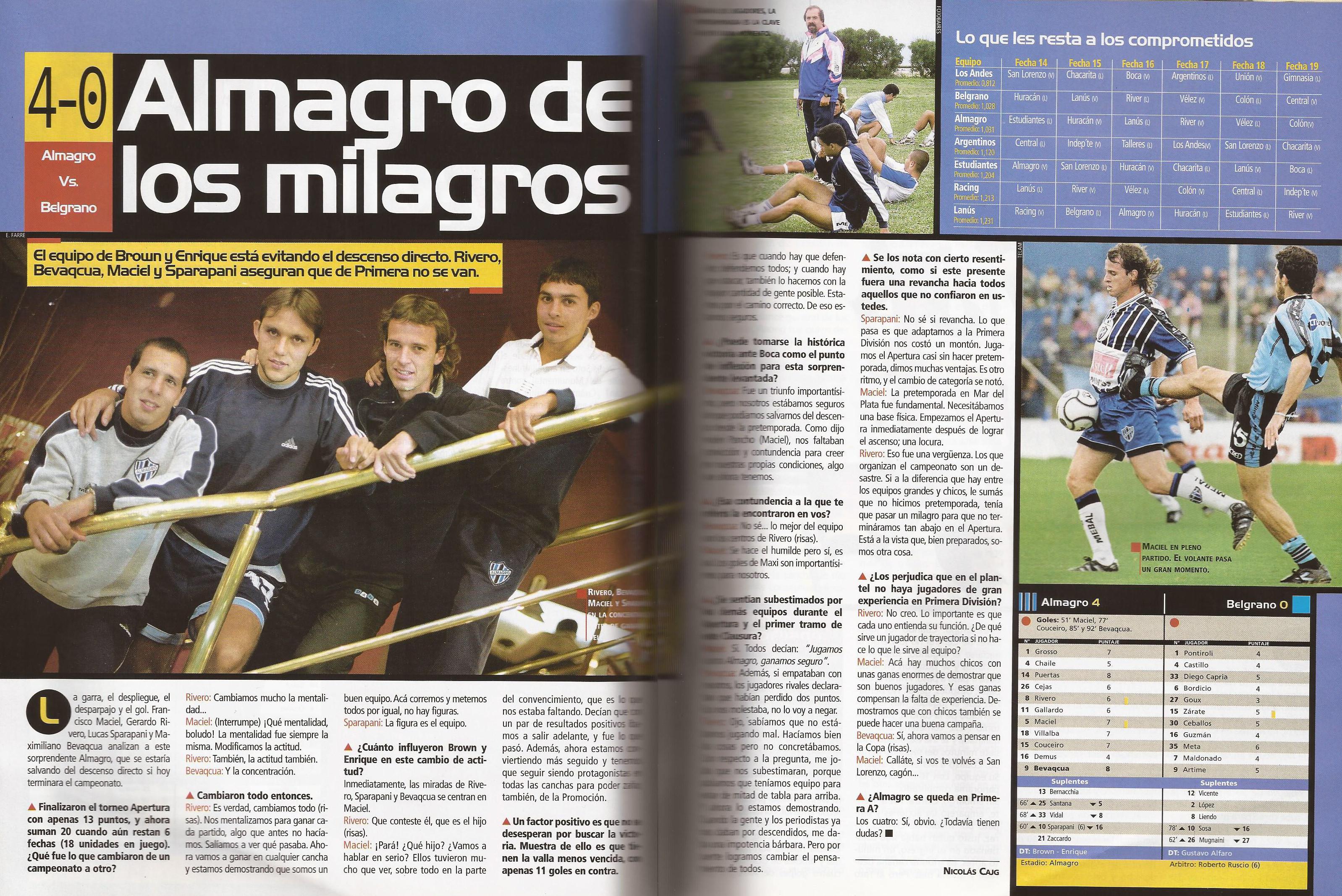 2000-01 Primera Division - Almagro vs Belgrano - Revista Pasion