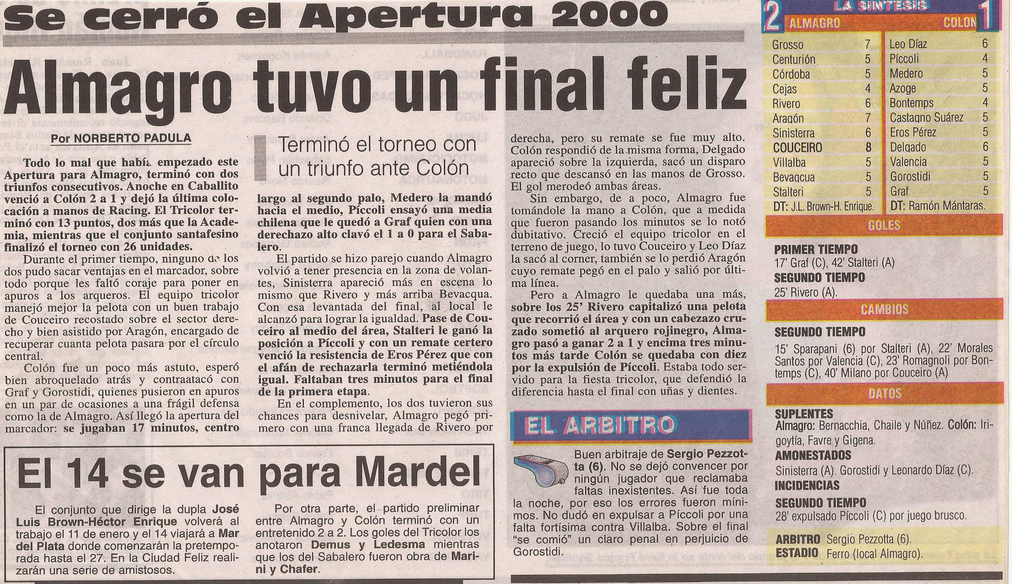 2000-01 Primera Division - Almagro vs Colon - Diario Popular