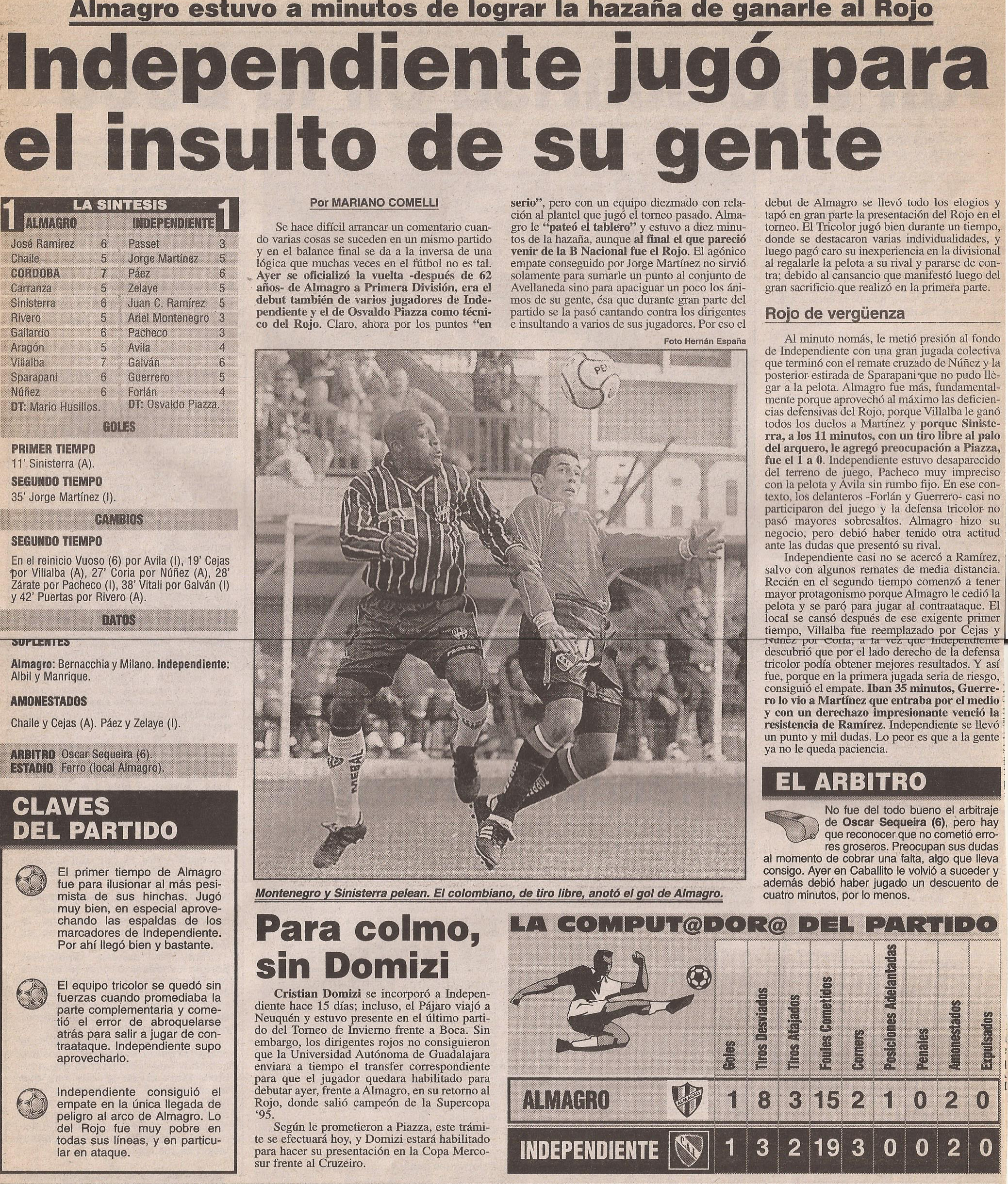 2000-01 Primera Division - Almagro vs Independiente - Diario Popular