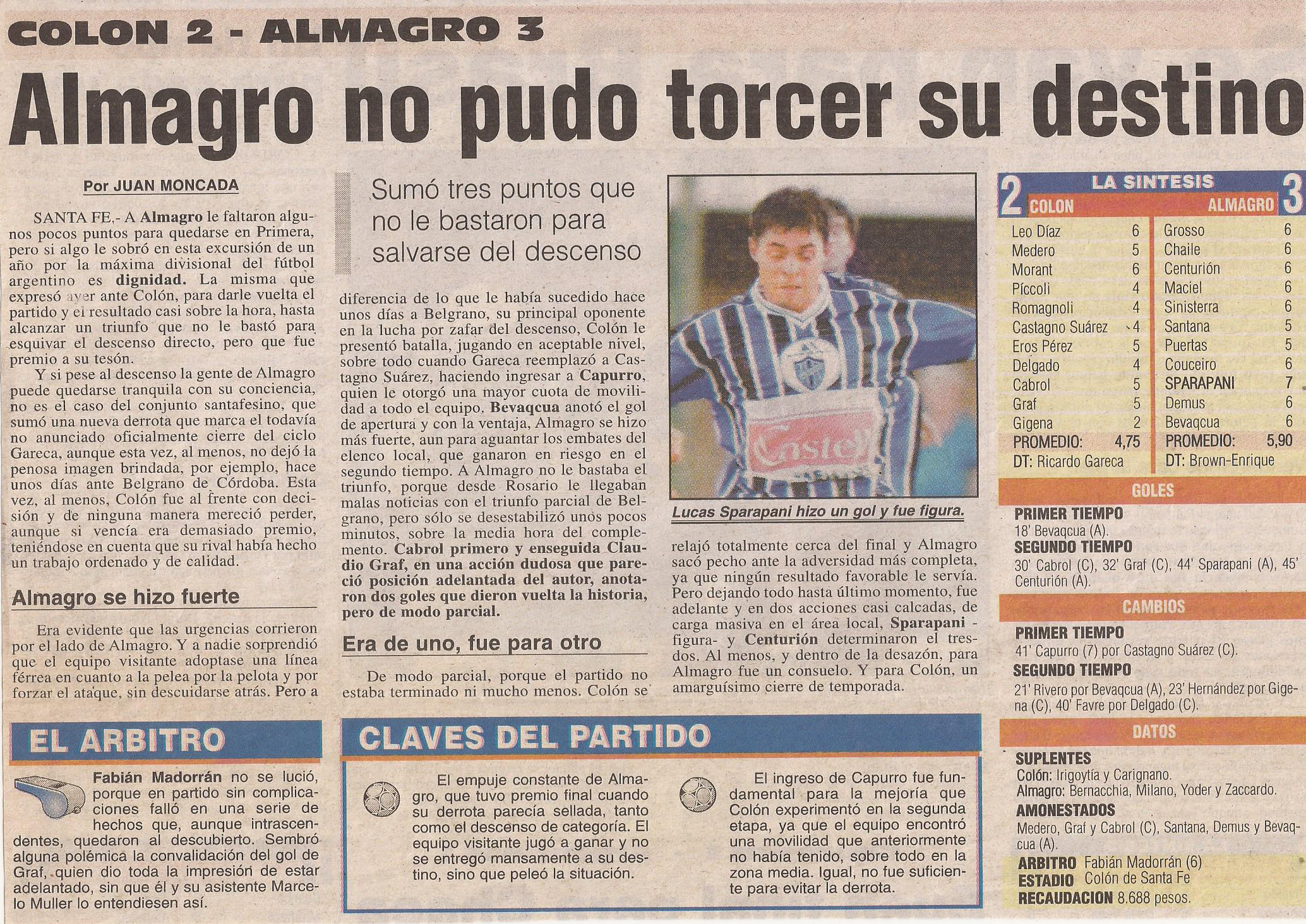 2000-01 Primera Division - Colon vs Almagro- Diario Popular