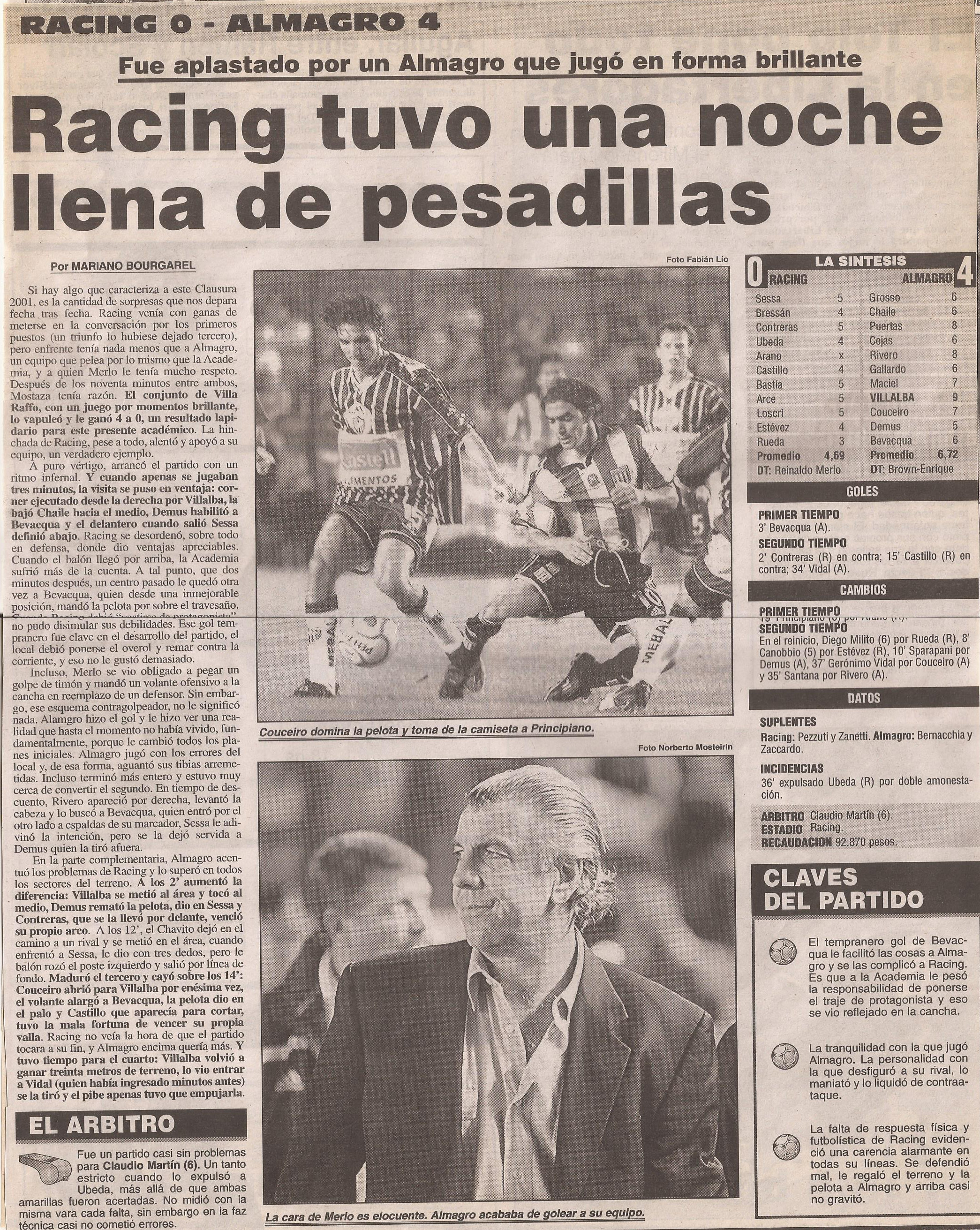 2000-01 Primera Division - Racing vs Almagro- Diario Popular