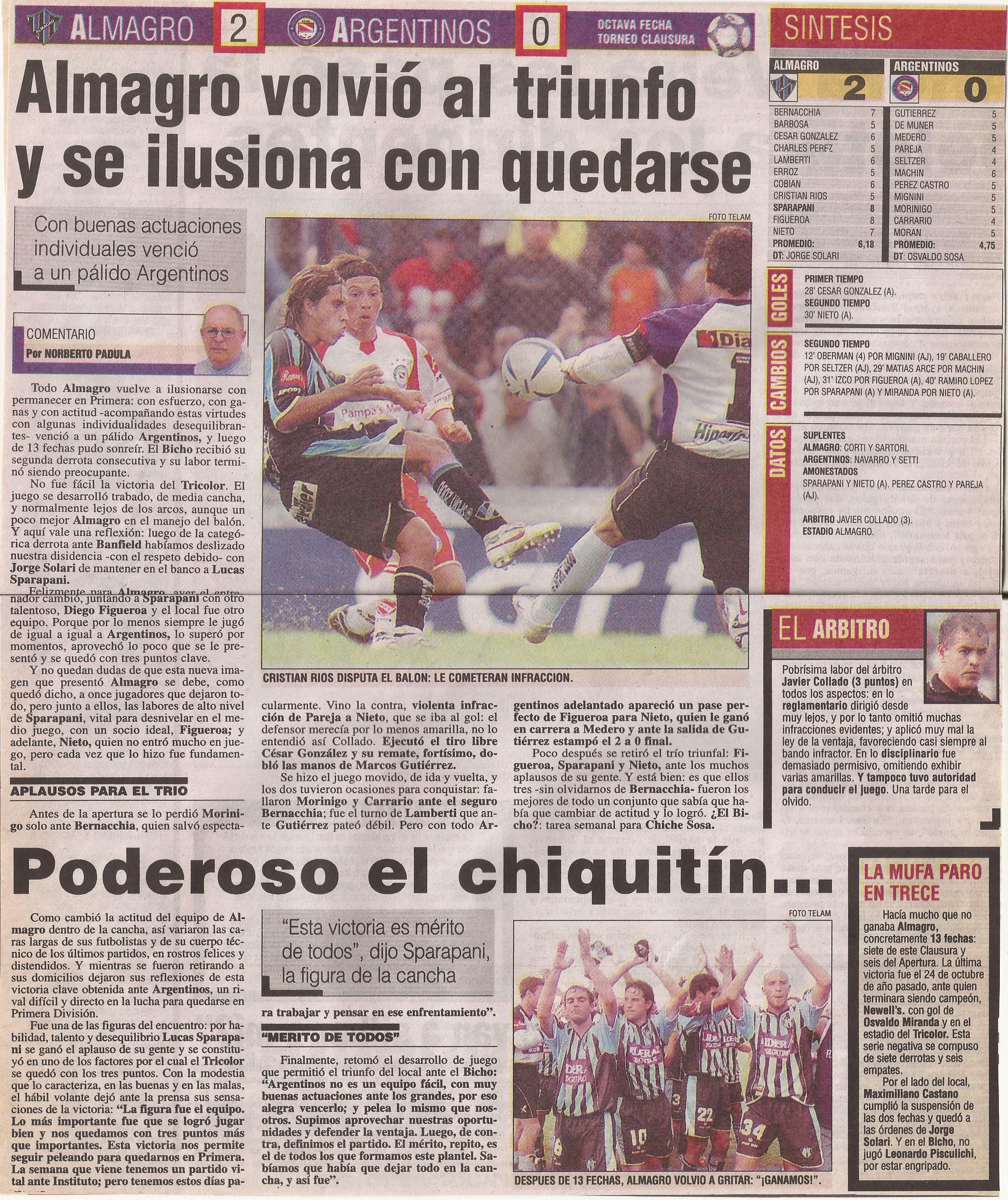 2004-05 Primera Division - Almagro vs Argentino- Diario Popular