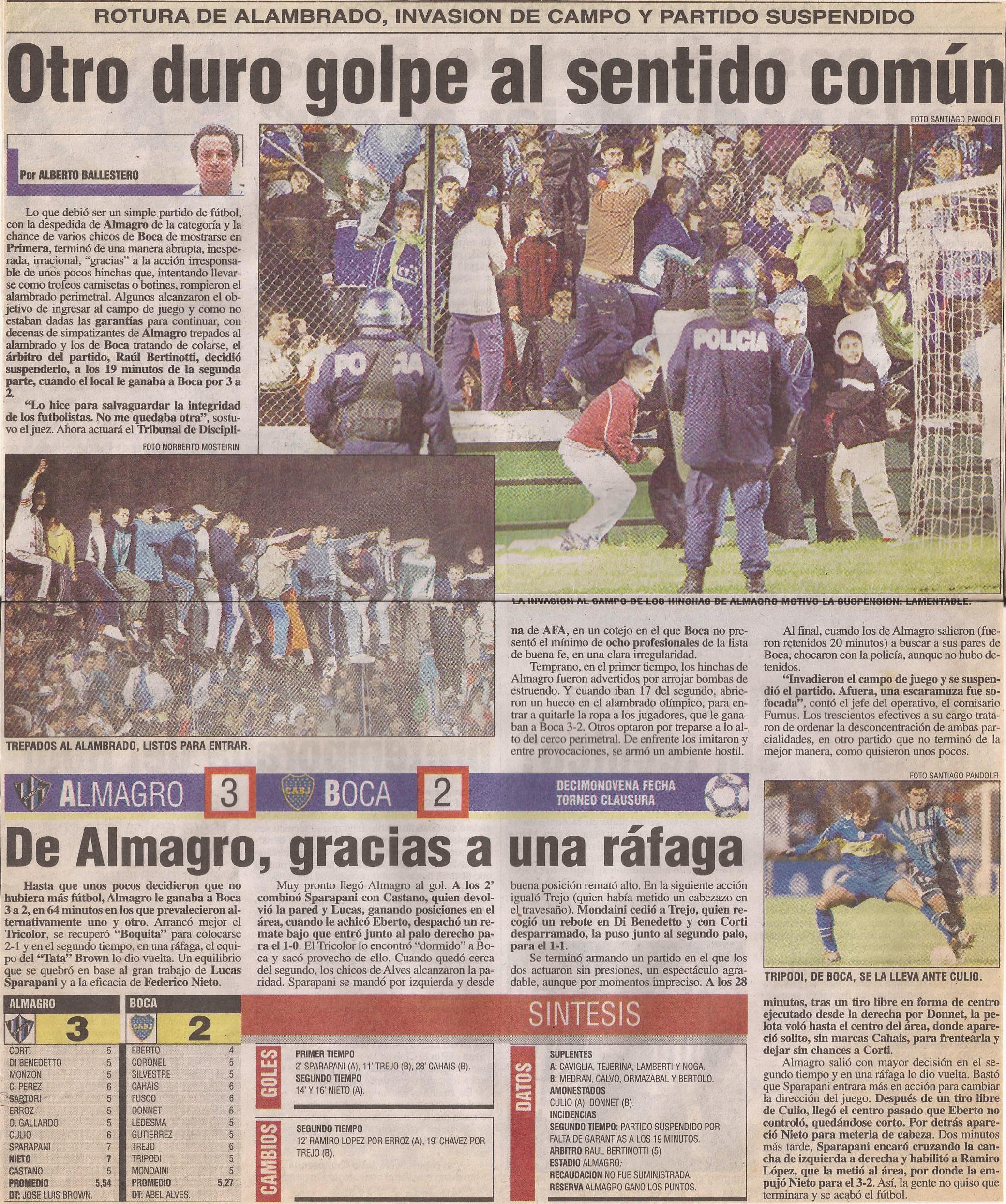2004-05 Primera Division - Almagro vs Boca - Diario Popular