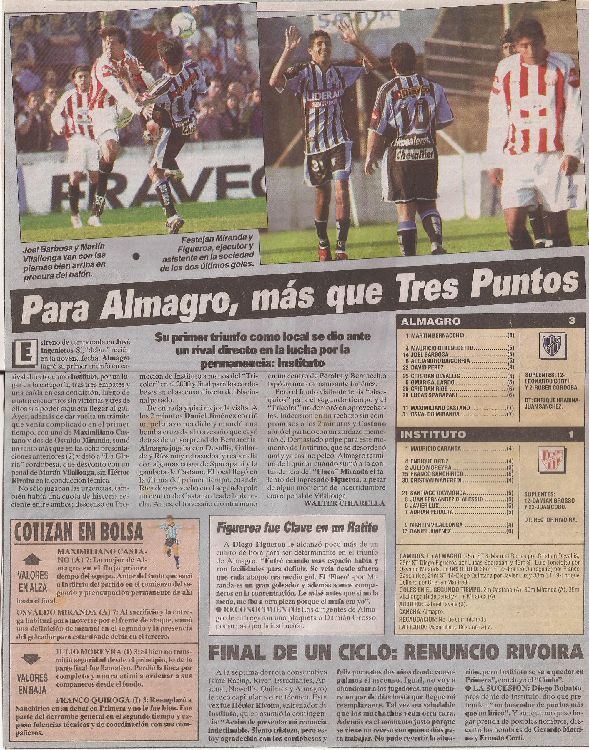 2004-05 Primera Division - Almagro vs Instituto - Diario Cronica