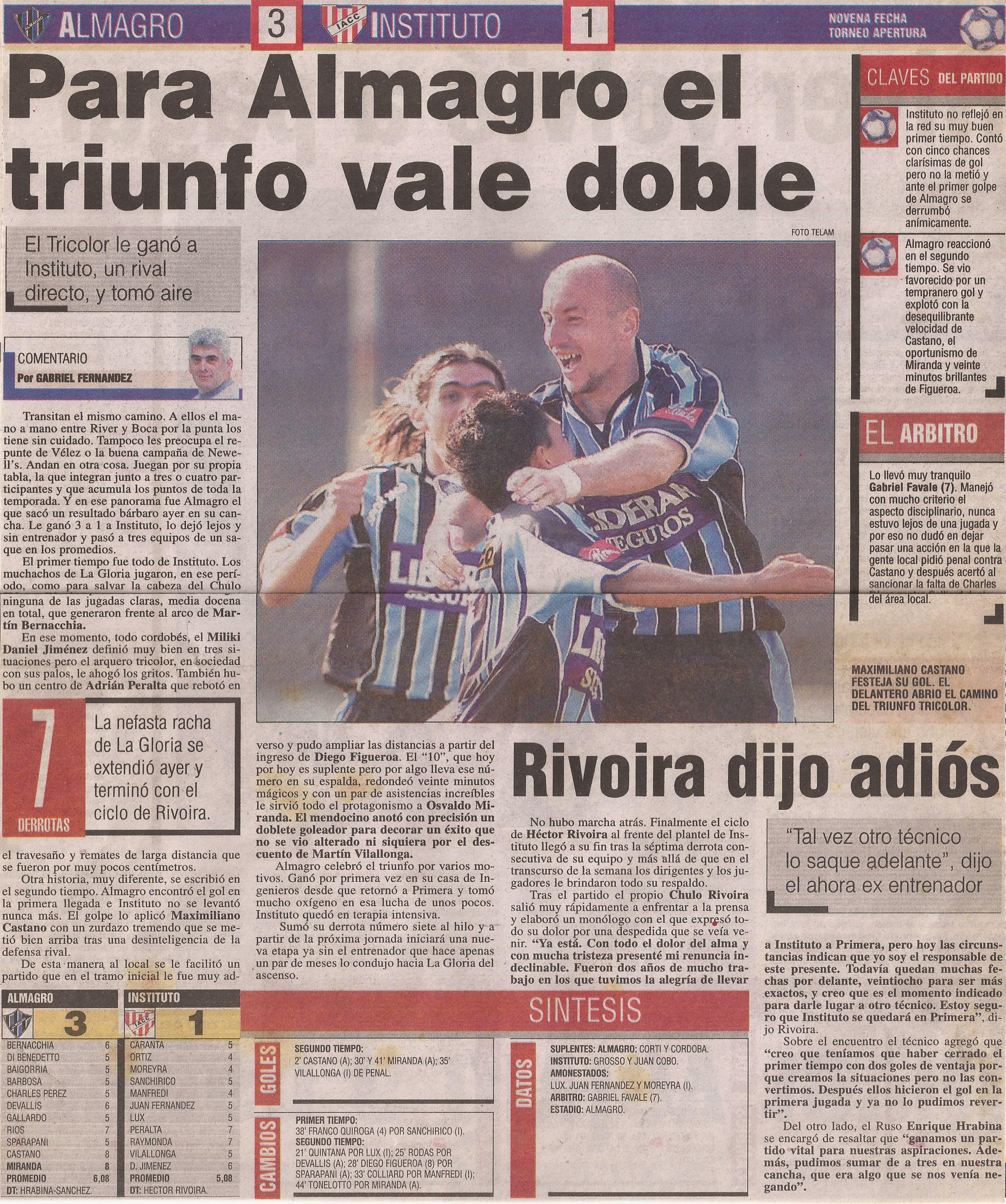 2004-05 Primera Division - Almagro vs Instituto - Diario Popular