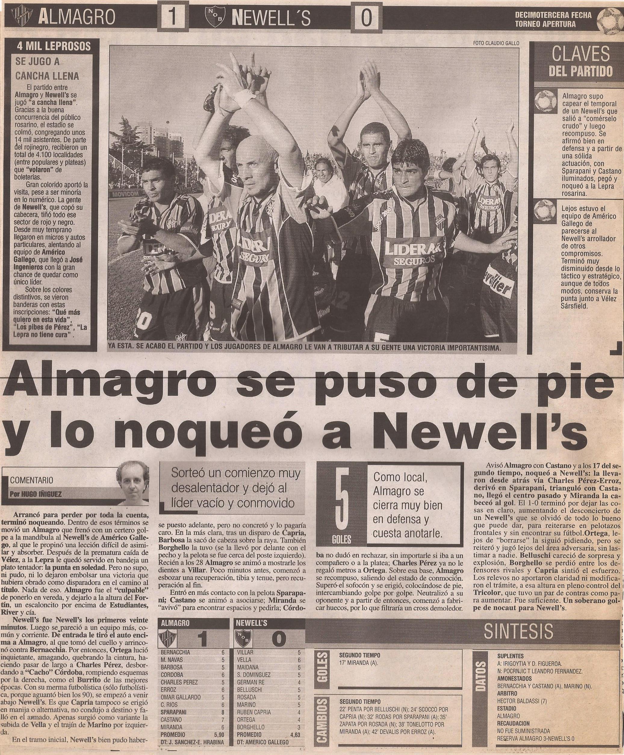 2004-05 Primera Division - Almagro vs Newells - Diario Popular