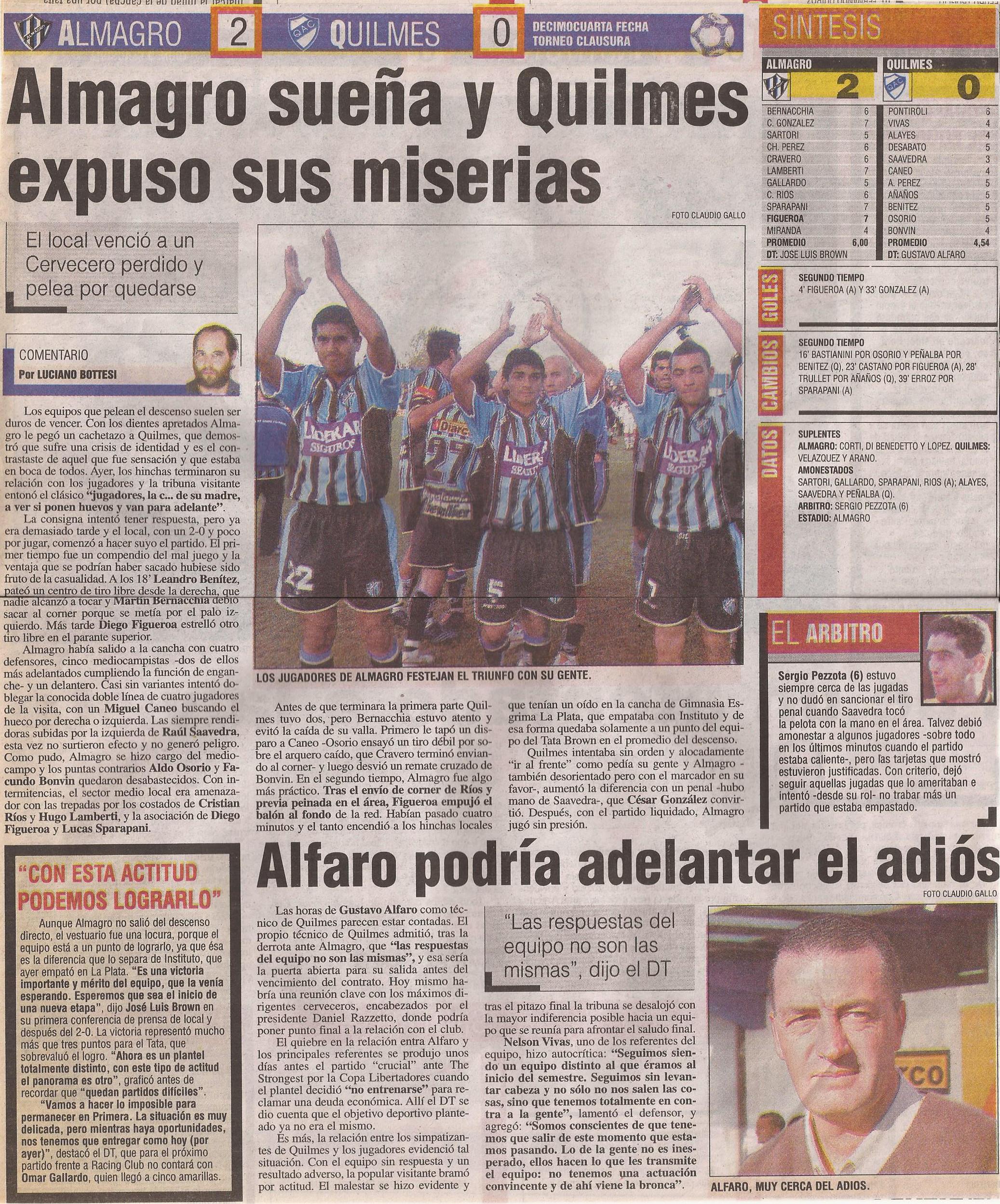 2004-05 Primera Division - Almagro vs Quilmes - Diario Popular