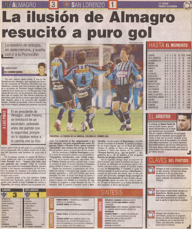 2004-05 Primera Division - Almagro vs San Lorezo - Diario Popular
