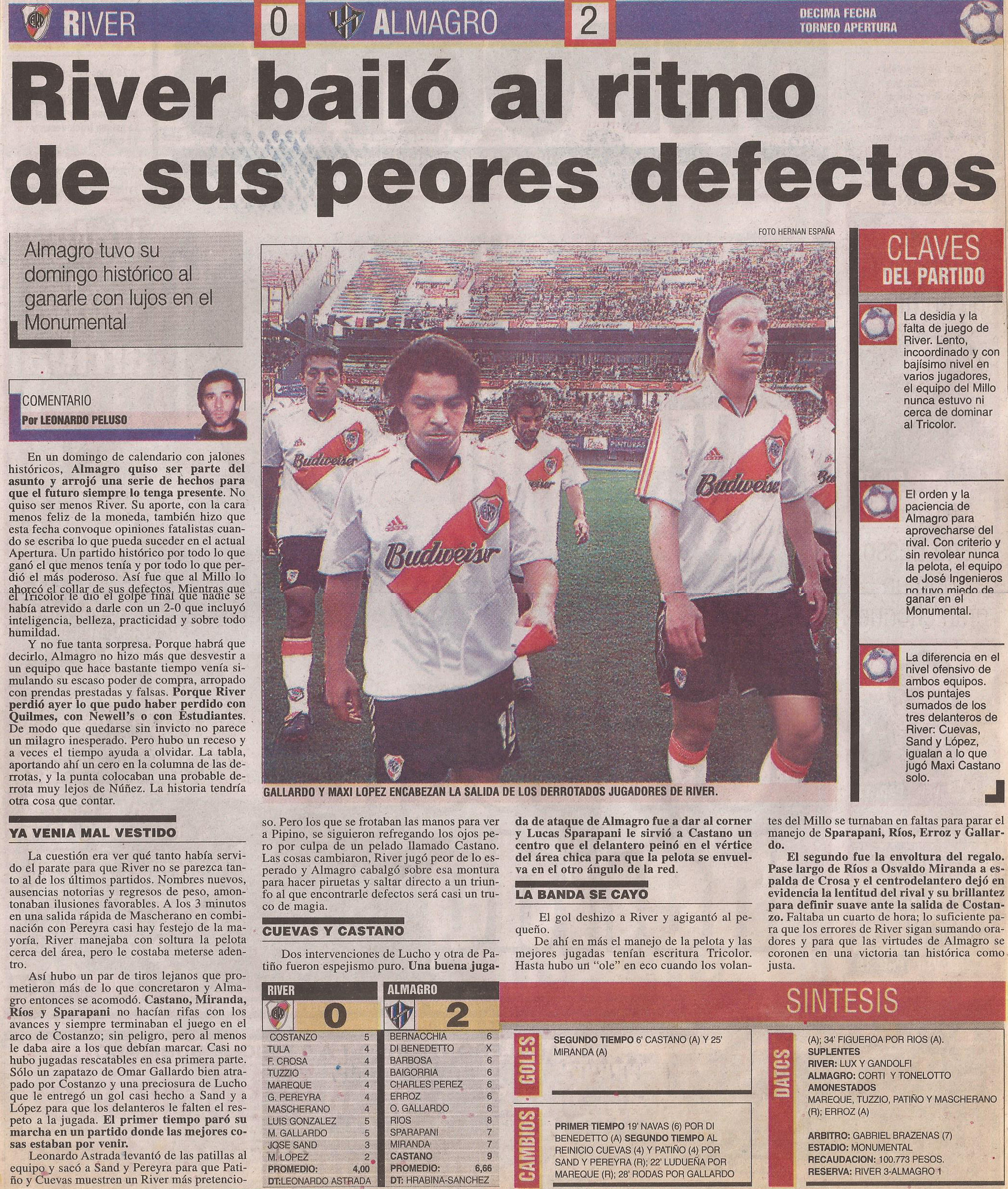 2004-05 Primera Division - River Plate vs Almagro - Diario Popular