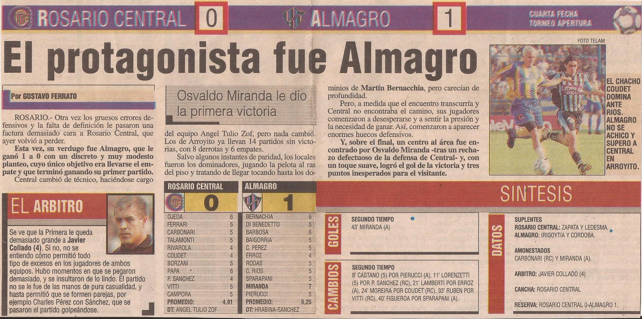 2004-05 Primera Division - Rosario Central vs Almagro - Diario Popular