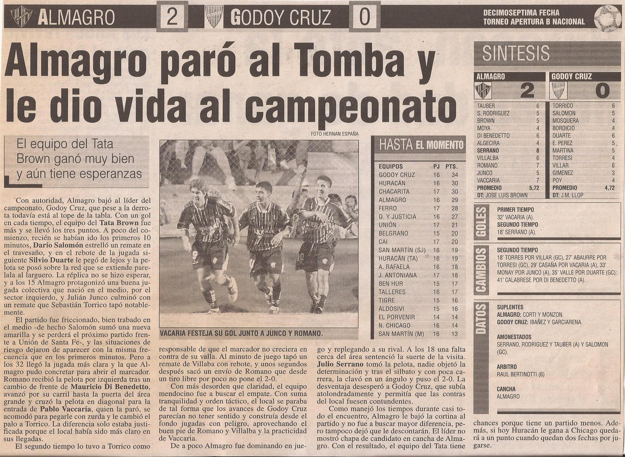 2005-06 Nacional B - Almagro vs Godoy Cruz - Diario Popular
