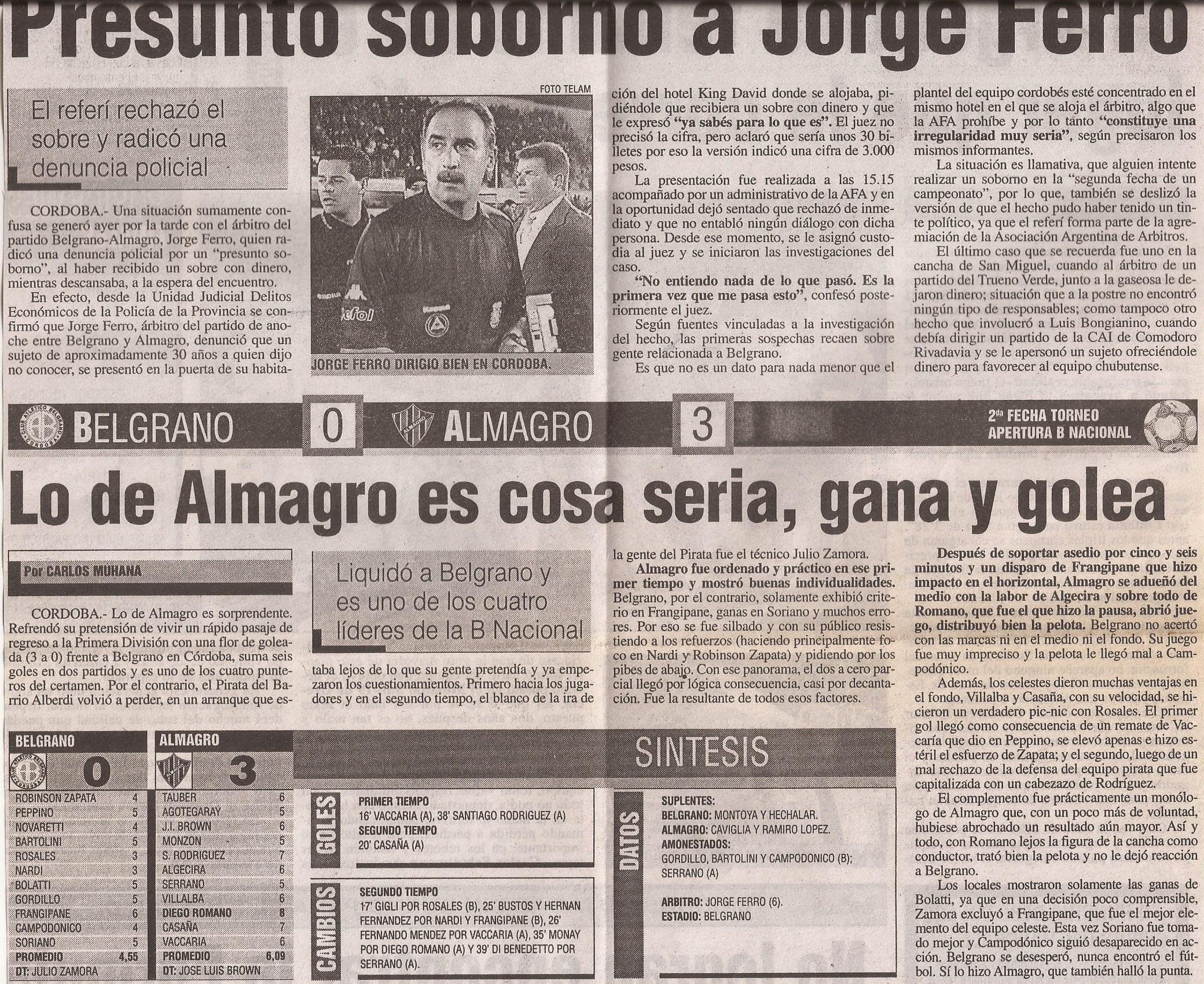 2005-06 Nacional B - Belgrano vs Almagro - Diario Popular