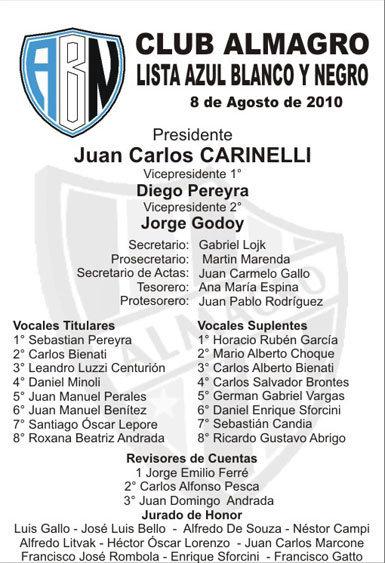 2010 - Lista Azul Blanco y Negro