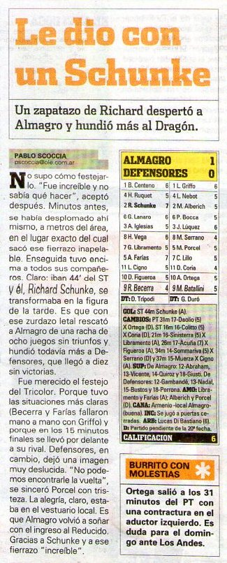 2011-12 PRIMERA B - ALMAGRO DEF DE BELGRANO - OLE