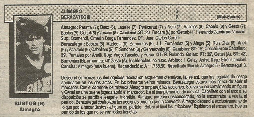 87- 88 primera b - almagro berazategui - solo futbol