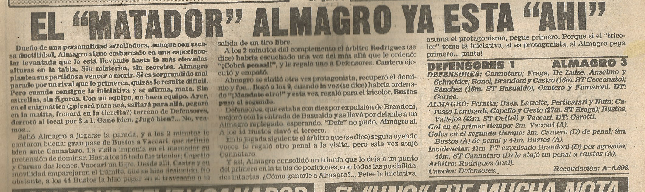 87-88 primera b - def de belgrano almagro - cronica