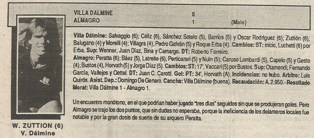 87-88 primera b villa dalmine almagro - solo futbol