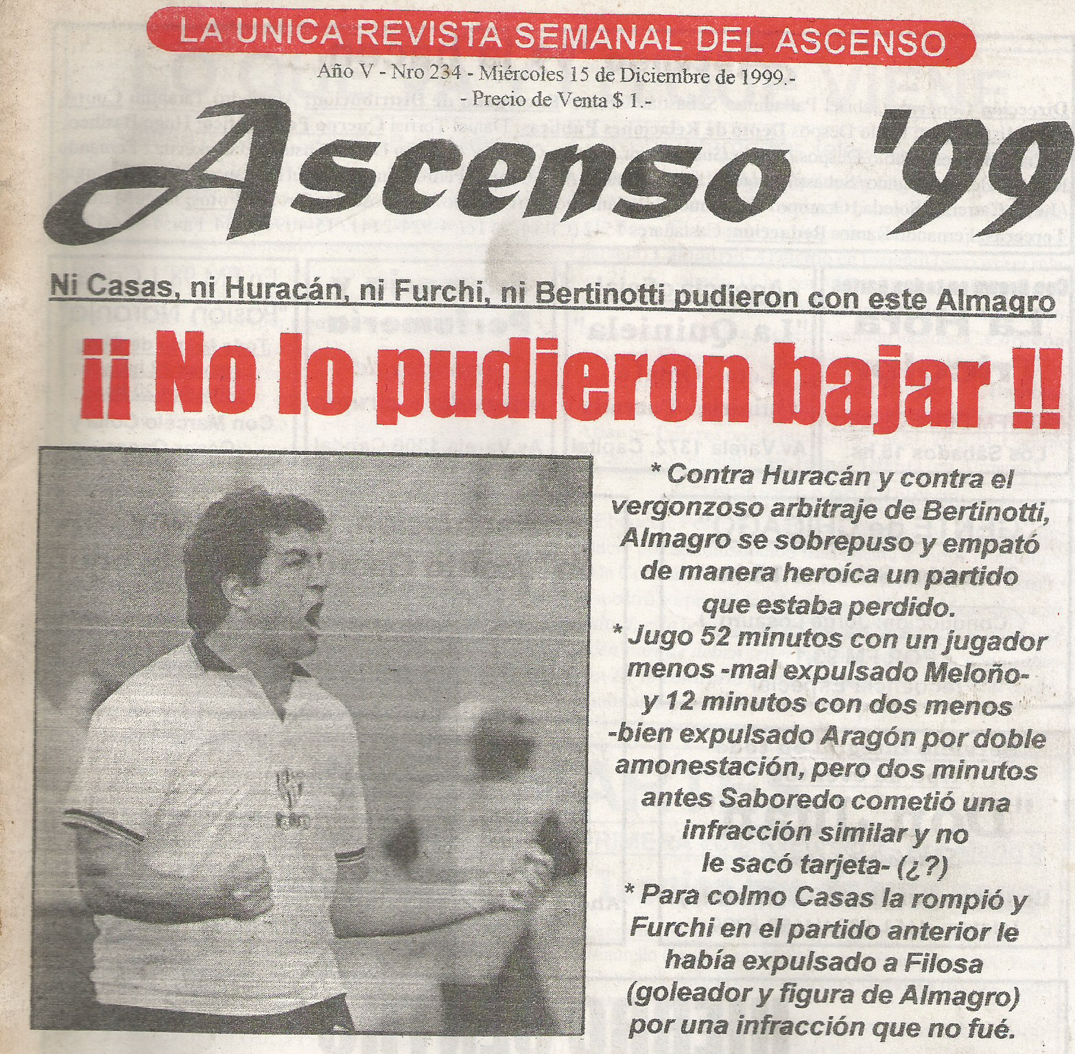 99-2000 NACIONAL B - HURACAN - ALMAGRO - ASCENSO99