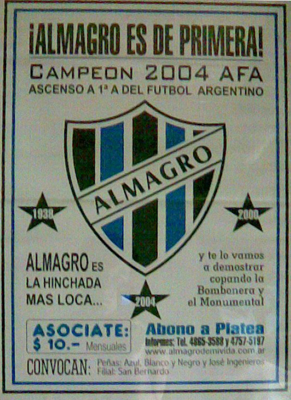 Afiche campaña tras el segundo ascenso a Primera división A