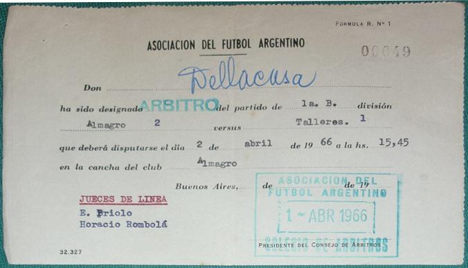 1966 - almagro vs talleres - citacion