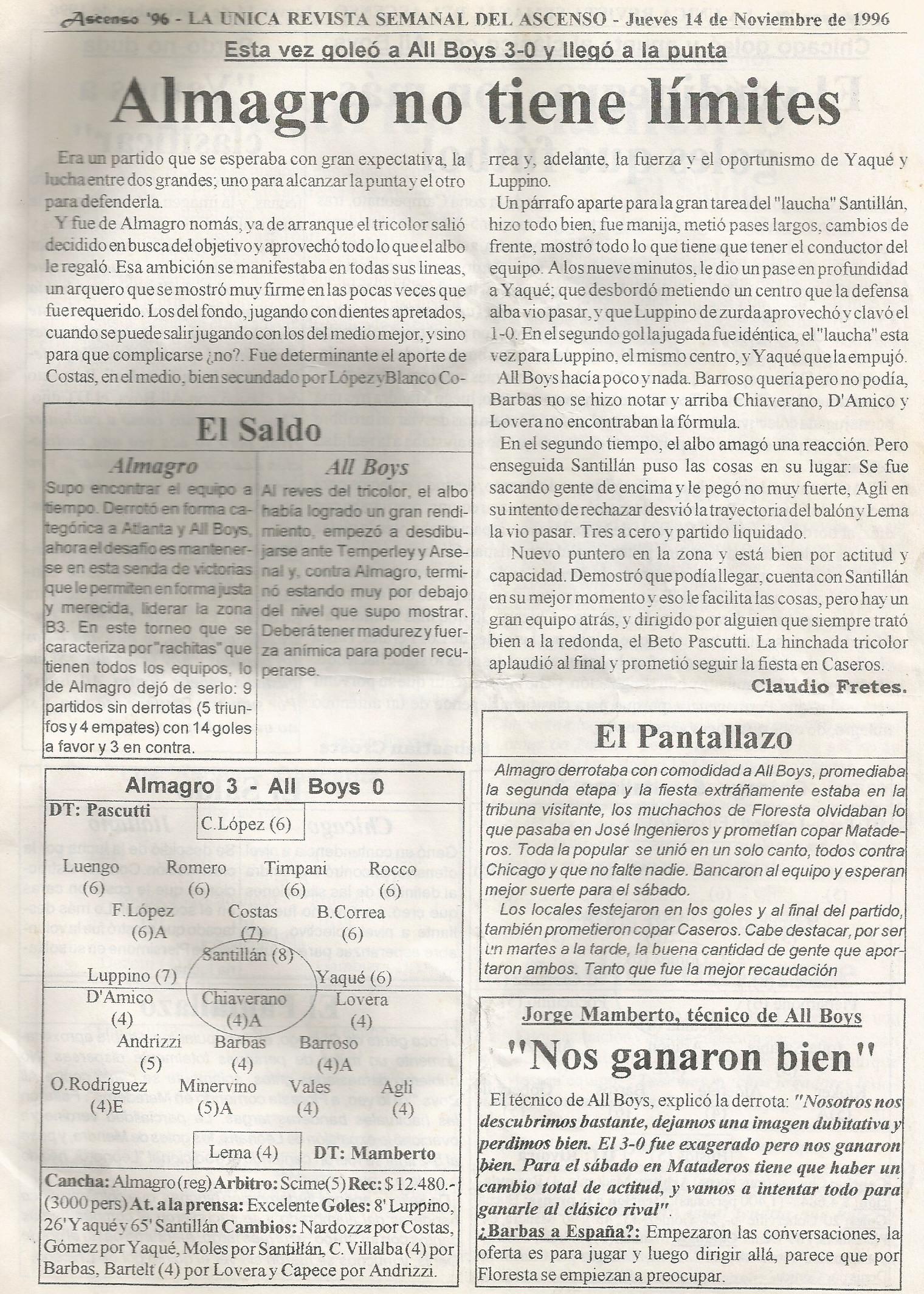 1996-97 NACIONAL B - ALMAGRO ALL BOYS - ASCENSO 96 A