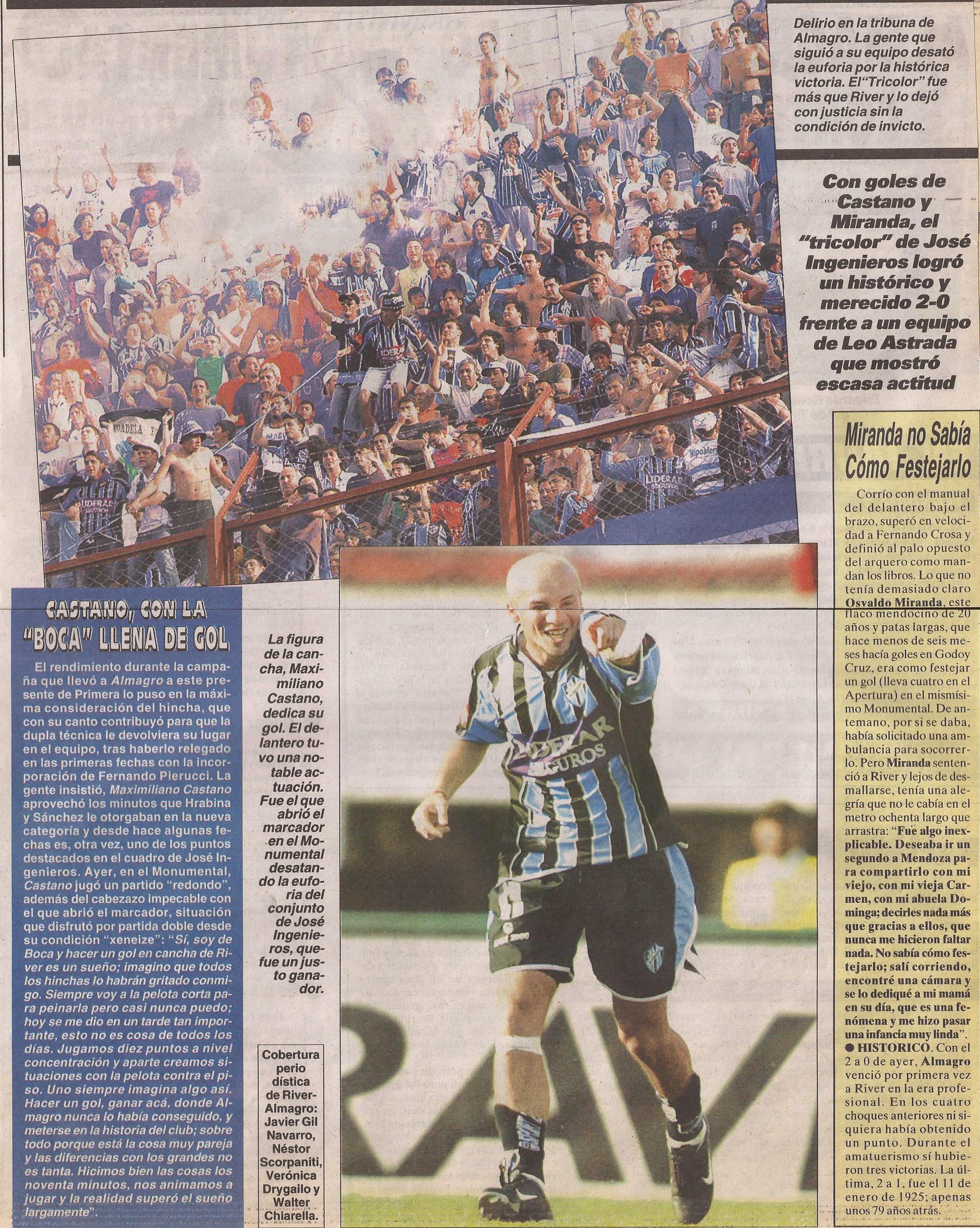 2004-05 Primera Division - River Plate vs Almagro - Castano - Cronica
