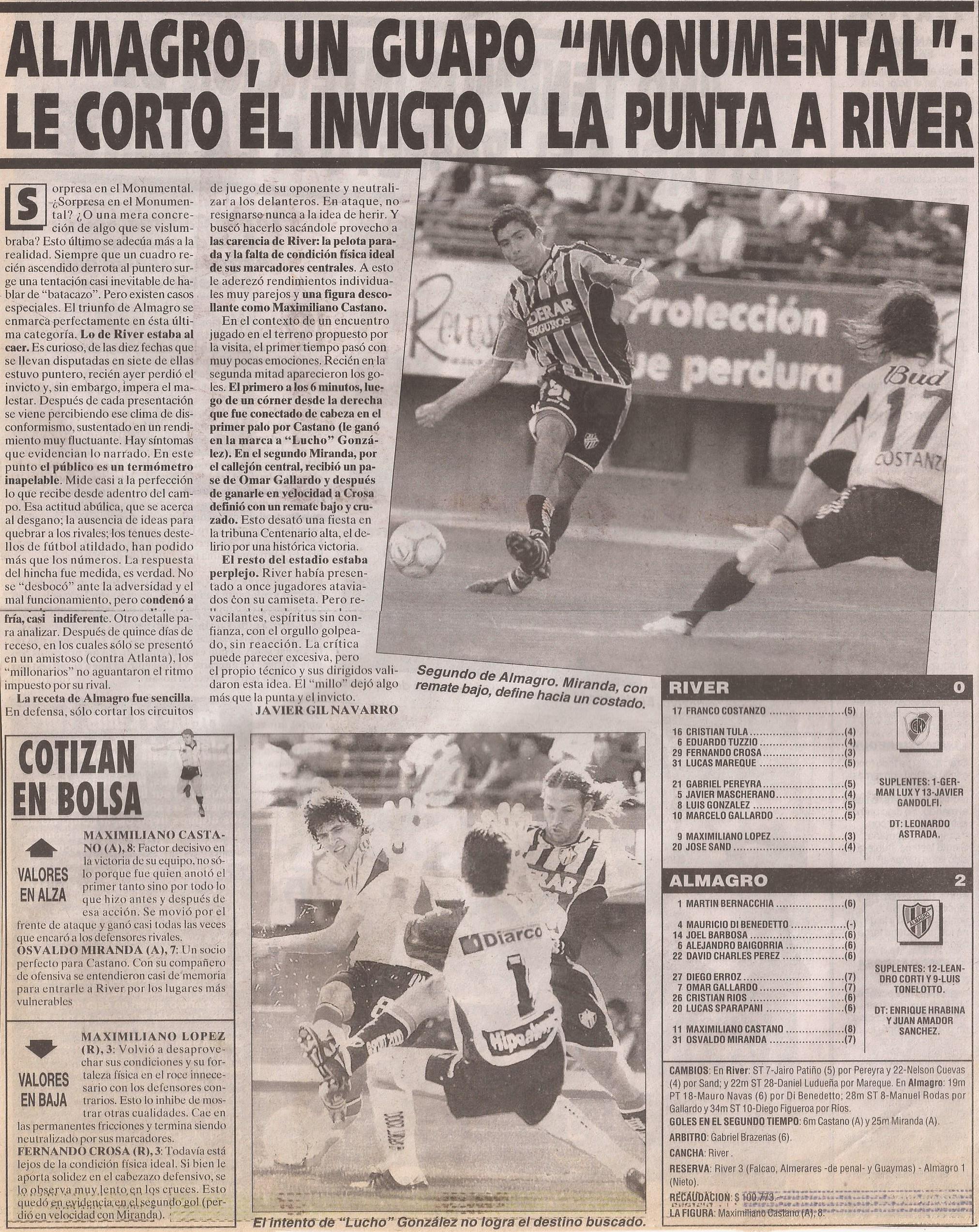 2004-05 Primera Division - River Plate vs Almagro - ficha - Diario Cronica