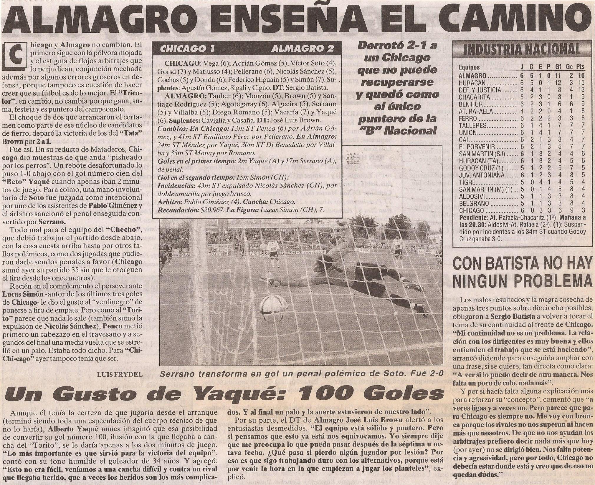 2005-06 Nacional B - Chicago vs Almagro - Diario Cronica